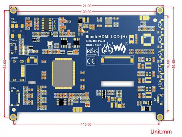 "Ecran LCD Tactile 5"" HDMI 800×480 , Capacitif"