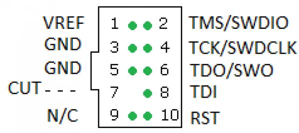 Adaptateur JTAG 20 vers SWD 10pins