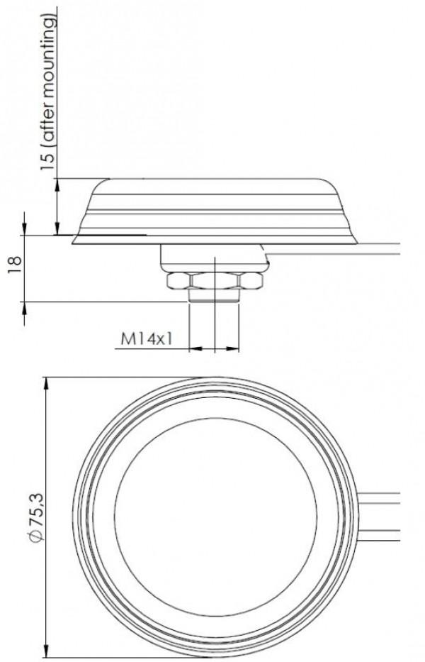 Antenne Dôme 868Mhz RP-SMA Câble 2m