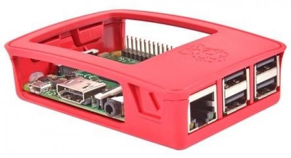 Boîtier Rouge, blanc pour Raspberry Pi 3, modèle B Officiel
