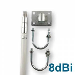 Antenne Outdoor IP 65 868Mhz 8dBi Fibre de verre - avec support de montage