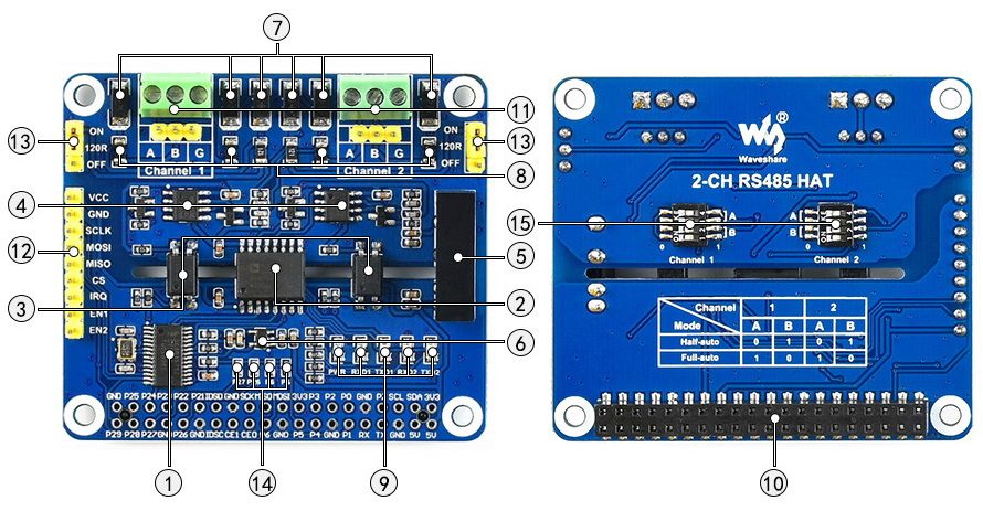 2-Channel Isolated RS485 RPI Expansion HAT
